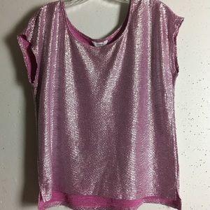 Candies Pink Shimmer Short Sleeve Top, NWOT, L